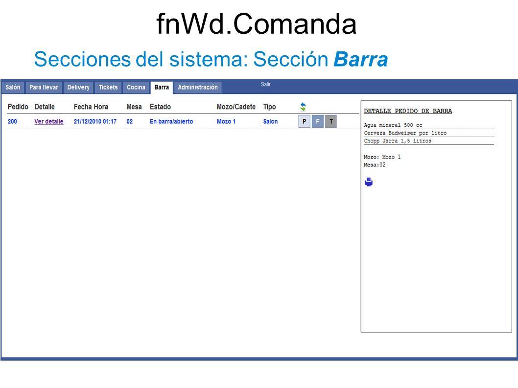 fnWd.Comanda Secciones del sistema: Sección Barra