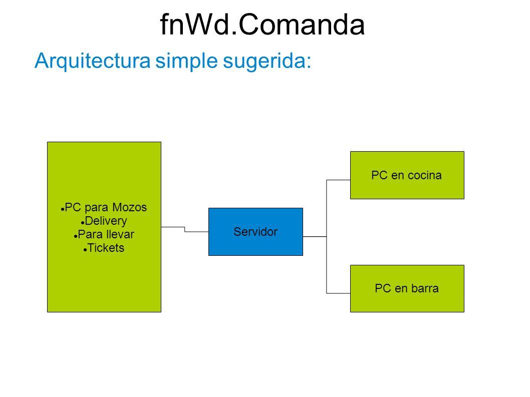fnWd.Comanda Arquitectura simple sugerida: PC en cocina PC para Mozos