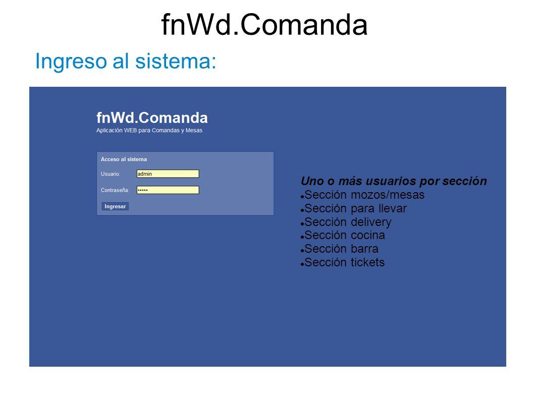 fnWd.Comanda Ingreso al sistema: Uno o más usuarios por sección