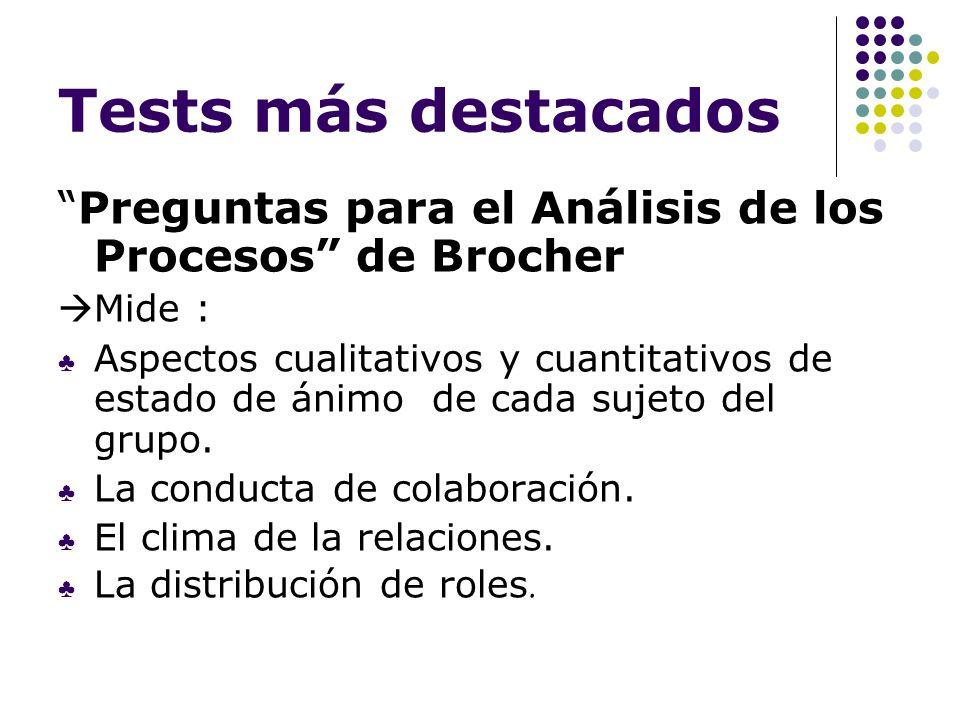 Tests más destacados Preguntas para el Análisis de los Procesos de Brocher. Mide :