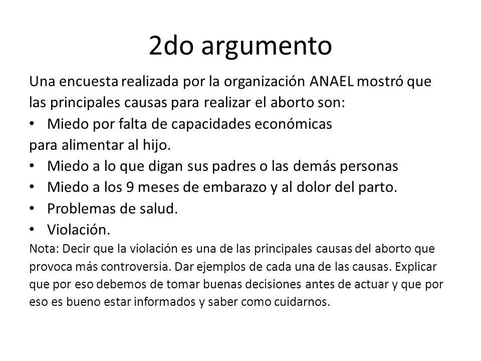 2do argumento Una encuesta realizada por la organización ANAEL mostró que. las principales causas para realizar el aborto son: