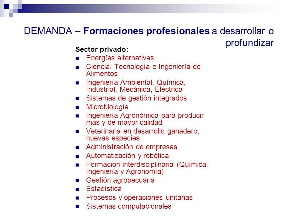 DEMANDA – Formaciones profesionales a desarrollar o profundizar