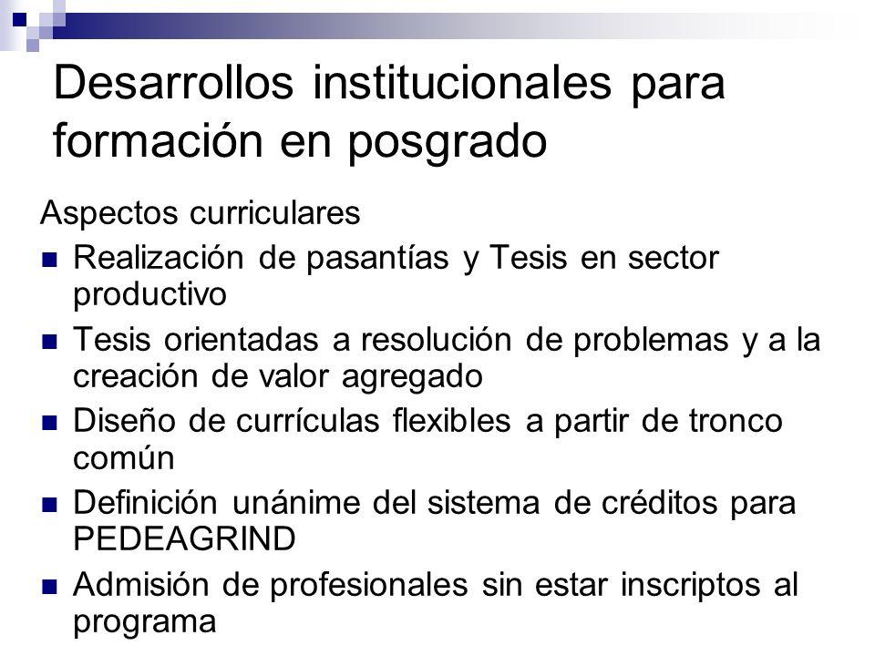Desarrollos institucionales para formación en posgrado