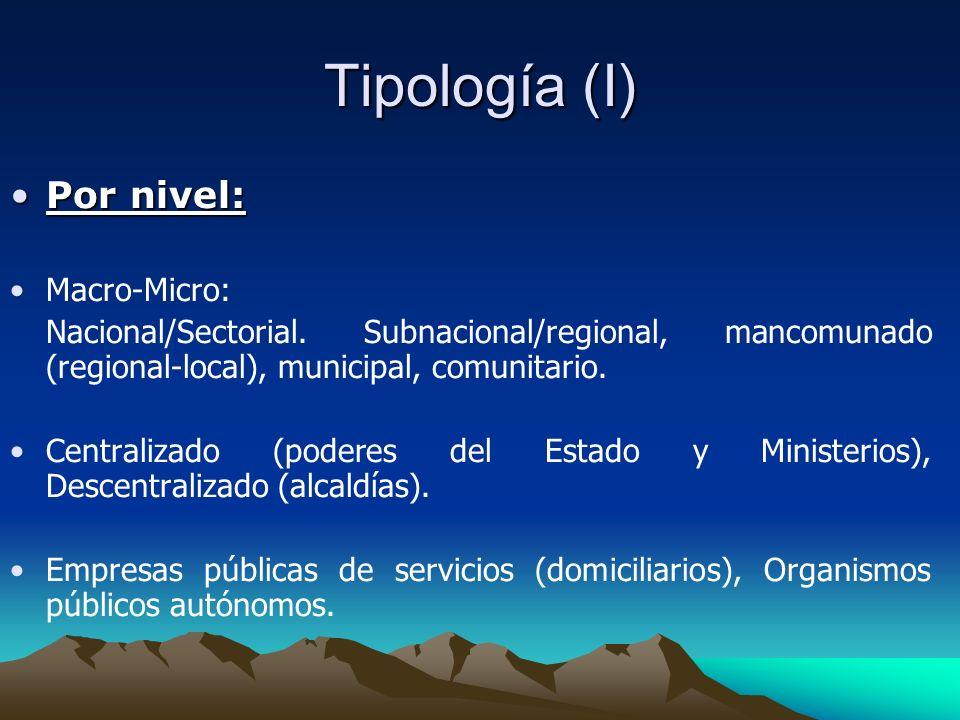 Tipología (I) Por nivel: Macro-Micro: