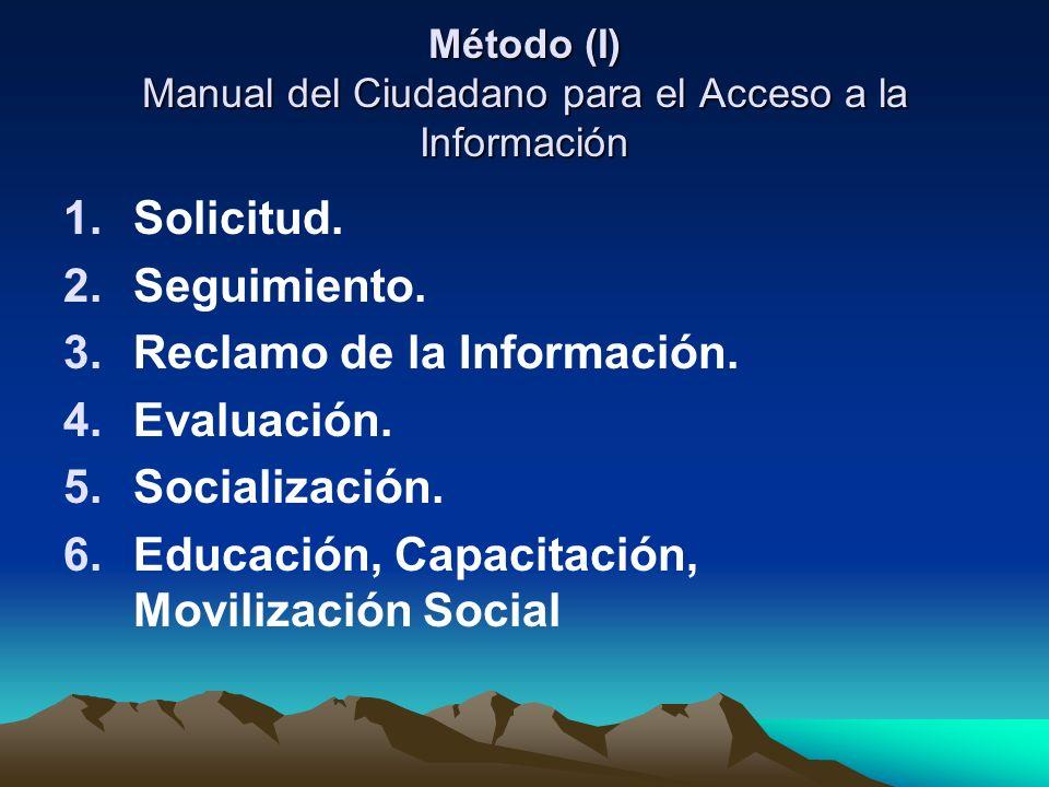 Método (I) Manual del Ciudadano para el Acceso a la Información