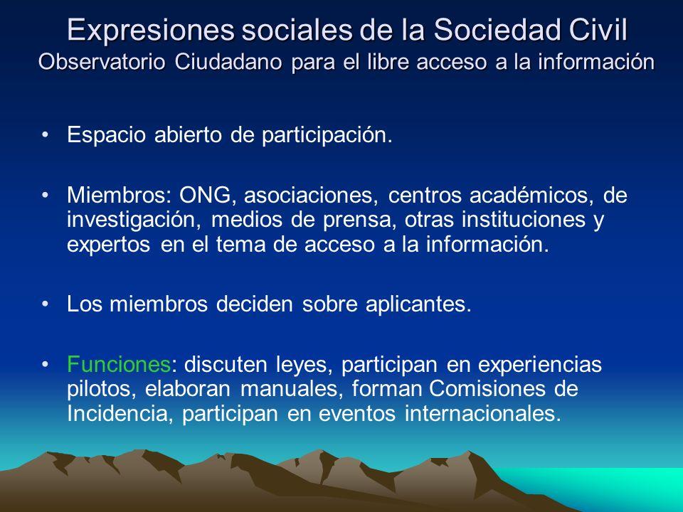 Expresiones sociales de la Sociedad Civil Observatorio Ciudadano para el libre acceso a la información