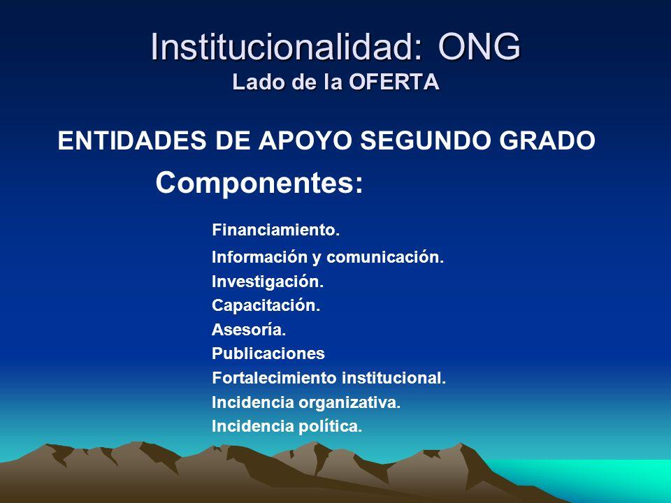 Institucionalidad: ONG Lado de la OFERTA