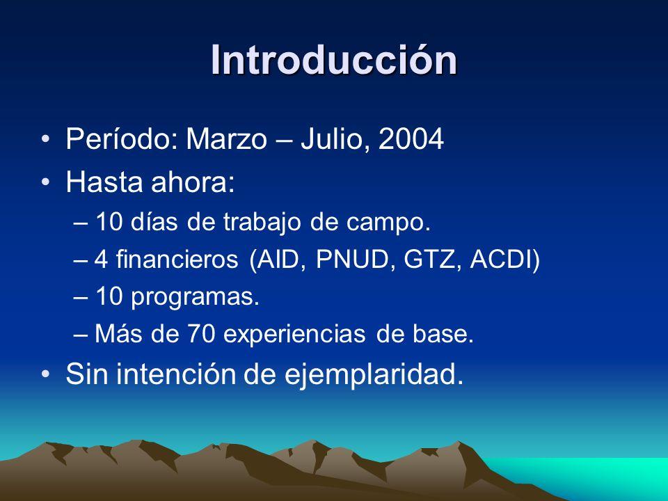 Introducción Período: Marzo – Julio, 2004 Hasta ahora: