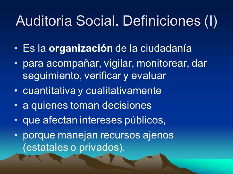 Auditoria Social. Definiciones (I)