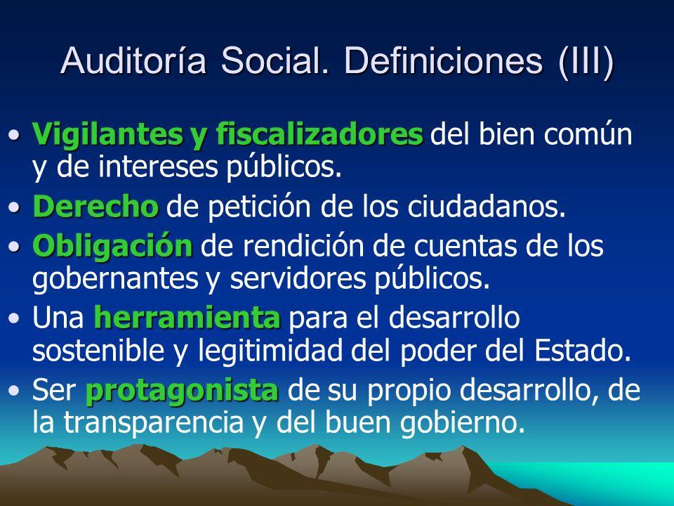 Auditoría Social. Definiciones (III)