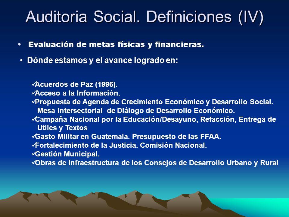 Auditoria Social. Definiciones (IV)