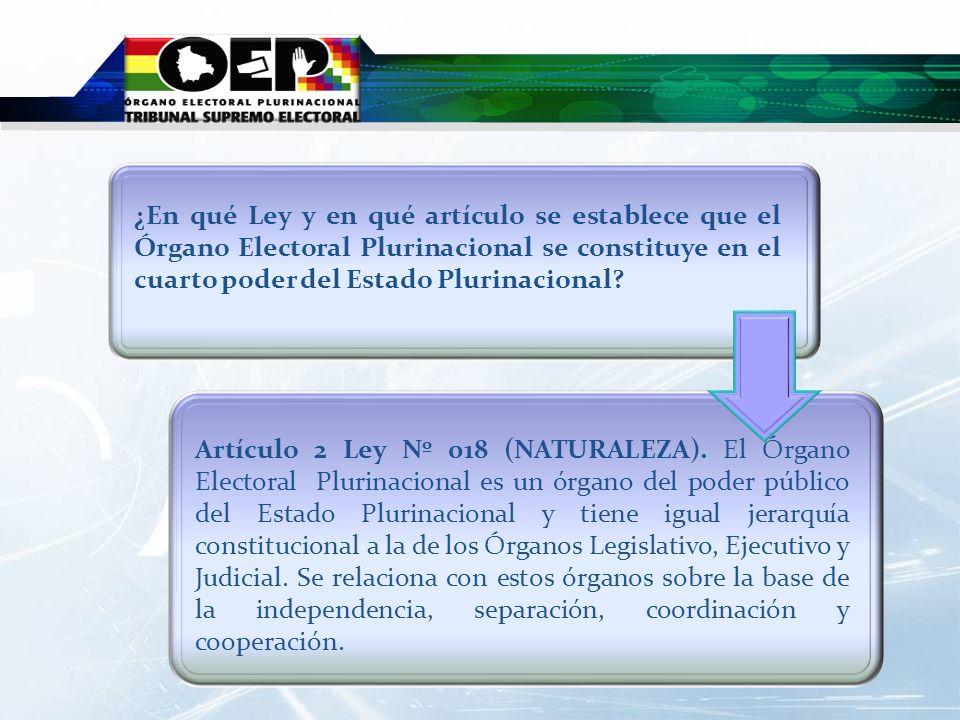 ¿En qué Ley y en qué artículo se establece que el Órgano Electoral Plurinacional se constituye en el cuarto poder del Estado Plurinacional