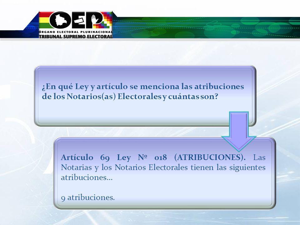 ¿En qué Ley y artículo se menciona las atribuciones de los Notarios(as) Electorales y cuántas son