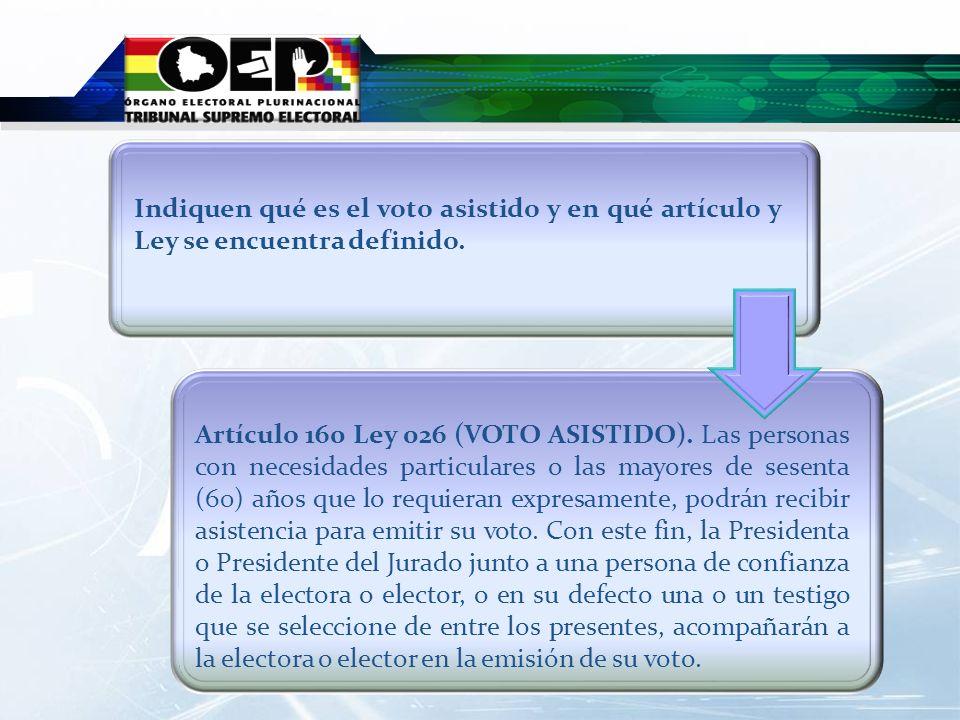 Indiquen qué es el voto asistido y en qué artículo y Ley se encuentra definido.