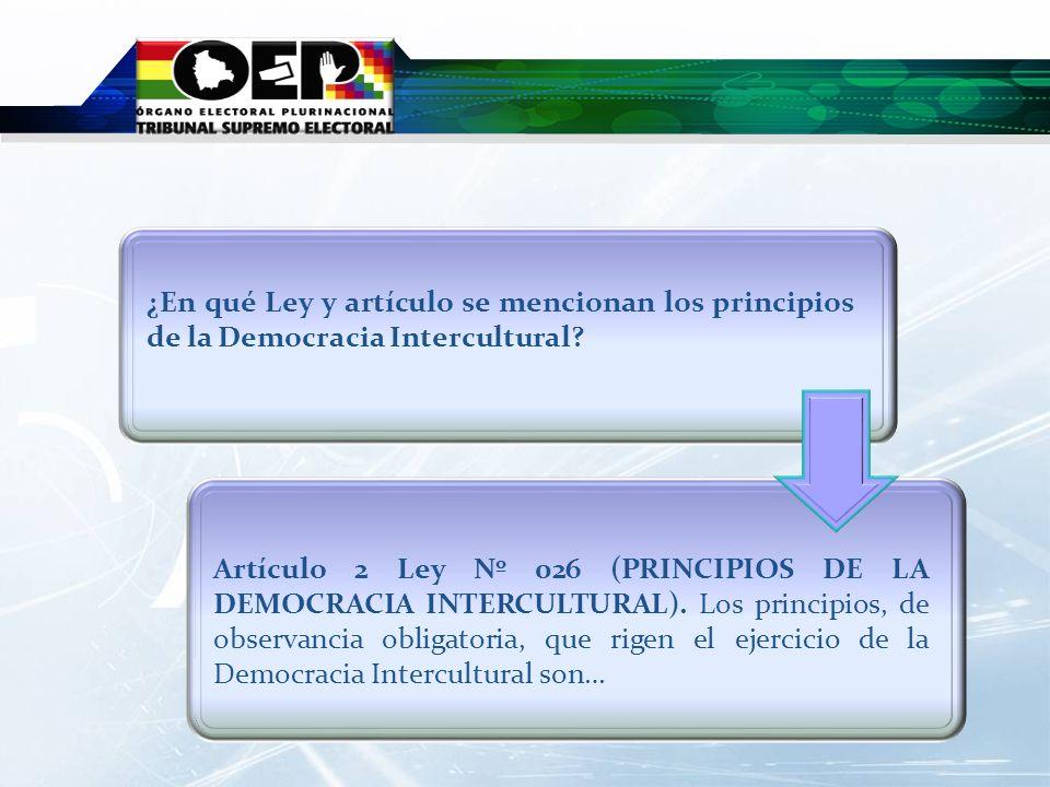 ¿En qué Ley y artículo se mencionan los principios de la Democracia Intercultural