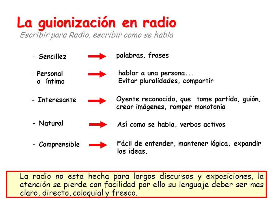 La guionización en radio Escribir para Radio, escribir como se habla