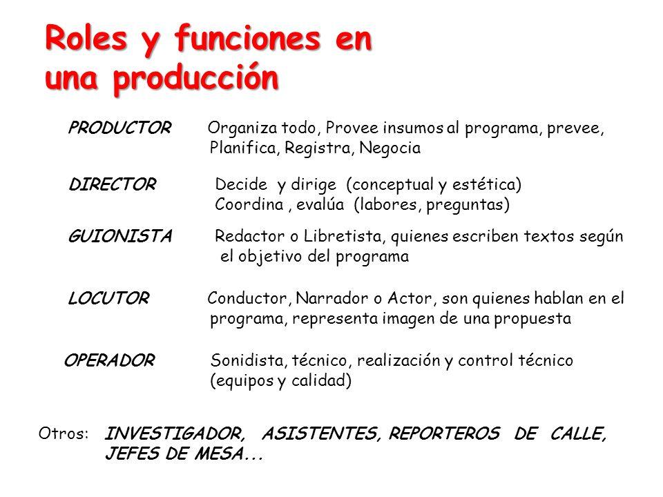 Roles y funciones en una producción