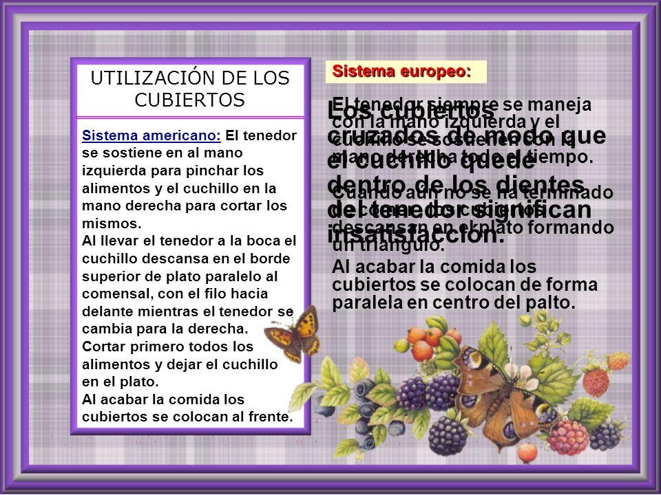 UTILIZACIÓN DE LOS CUBIERTOS