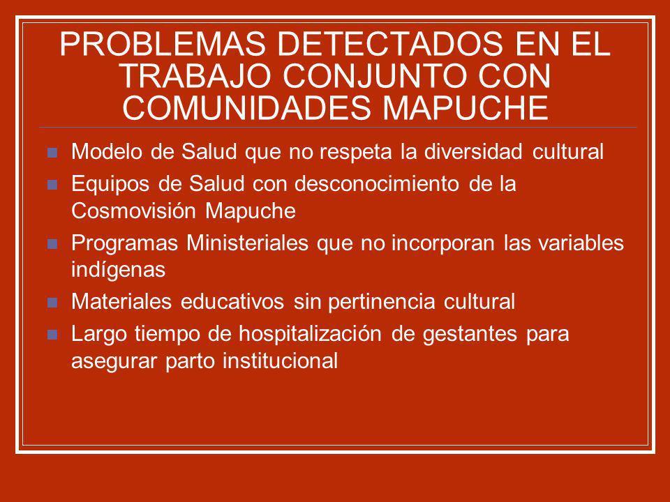 PROBLEMAS DETECTADOS EN EL TRABAJO CONJUNTO CON COMUNIDADES MAPUCHE