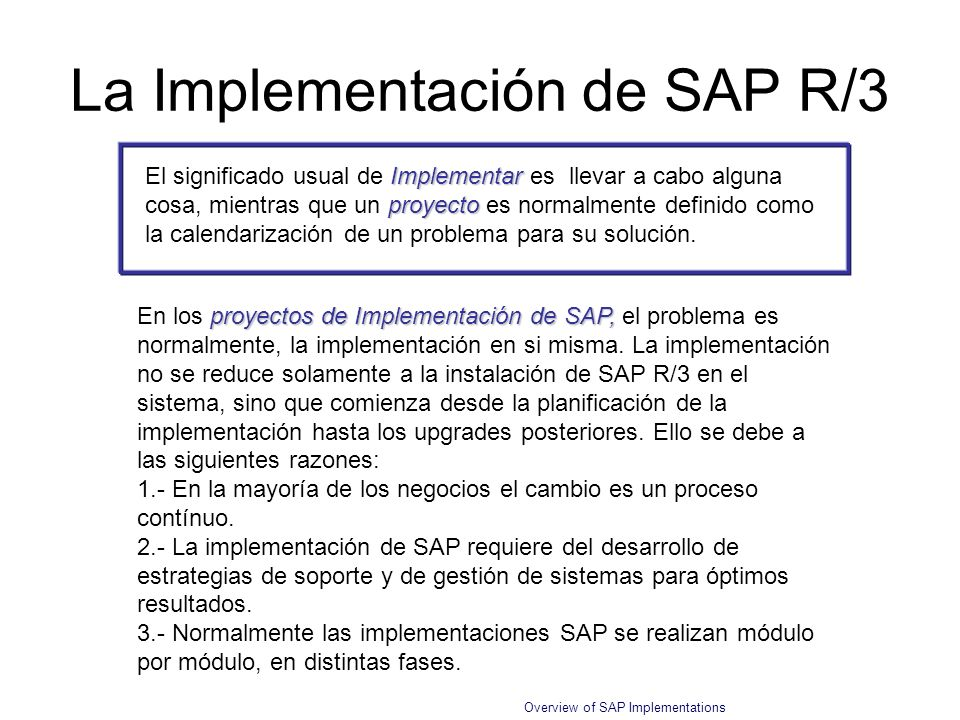 La Implementación de SAP R/3