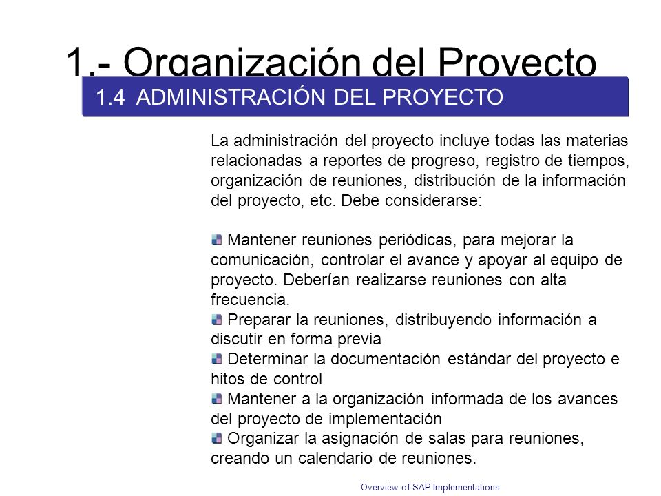 1.- Organización del Proyecto