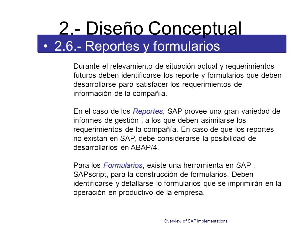 2.- Diseño Conceptual 2.6.- Reportes y formularios