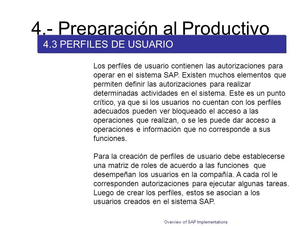 4.- Preparación al Productivo