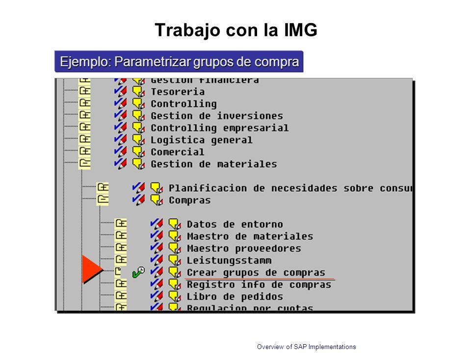 Trabajo con la IMG Ejemplo: Parametrizar grupos de compra