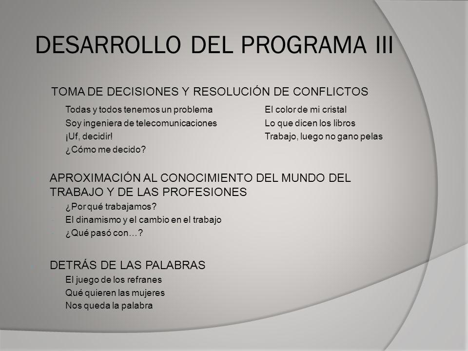 DESARROLLO DEL PROGRAMA III