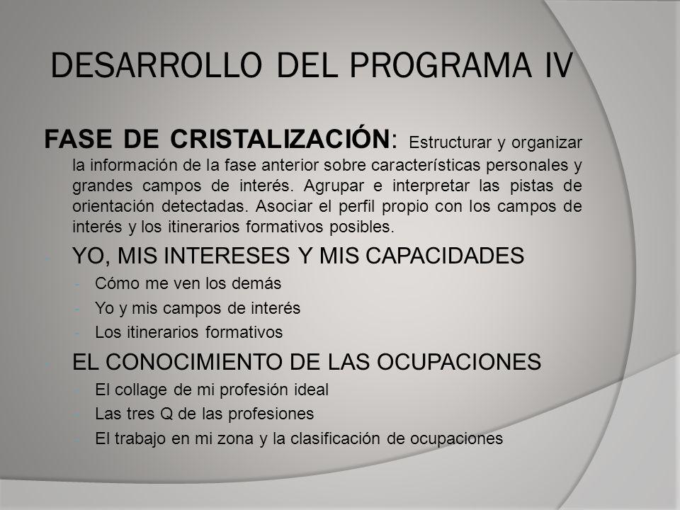 DESARROLLO DEL PROGRAMA IV