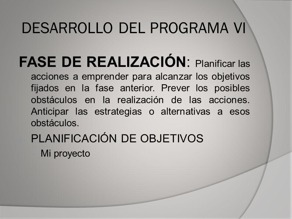 DESARROLLO DEL PROGRAMA VI
