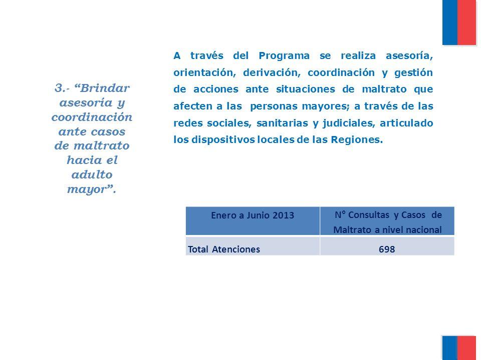 N° Consultas y Casos de Maltrato a nivel nacional