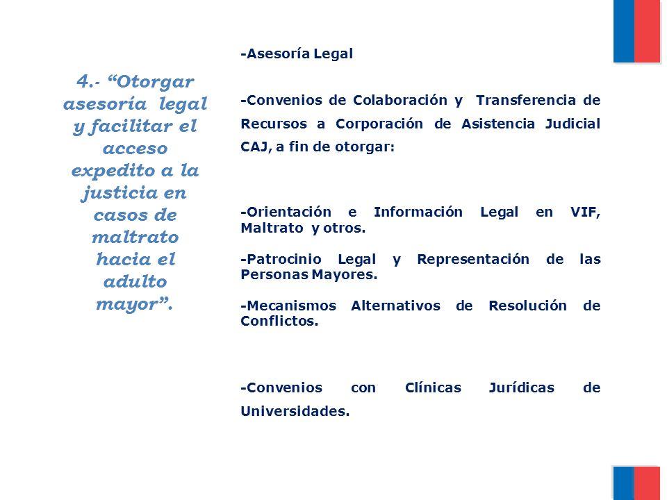 -Asesoría Legal -Convenios de Colaboración y Transferencia de Recursos a Corporación de Asistencia Judicial CAJ, a fin de otorgar: