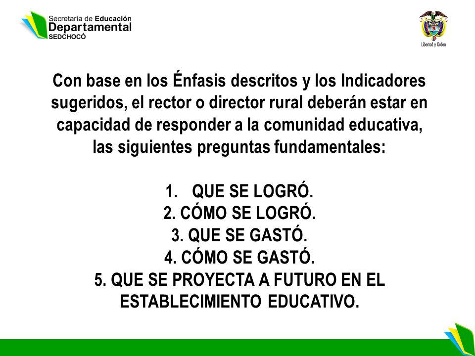 5. QUE SE PROYECTA A FUTURO EN EL ESTABLECIMIENTO EDUCATIVO.