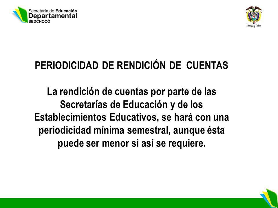 PERIODICIDAD DE RENDICIÓN DE CUENTAS