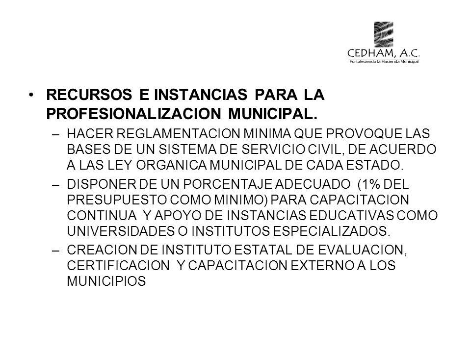 RECURSOS E INSTANCIAS PARA LA PROFESIONALIZACION MUNICIPAL.