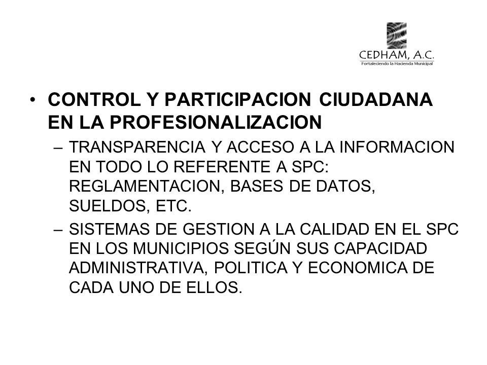CONTROL Y PARTICIPACION CIUDADANA EN LA PROFESIONALIZACION