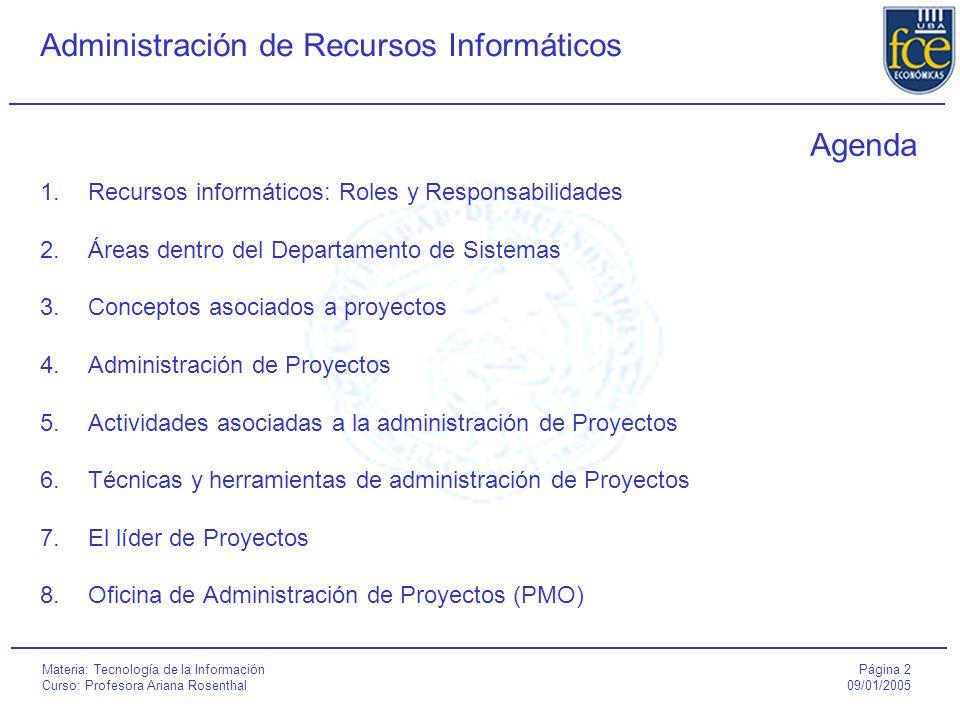 Agenda Recursos informáticos: Roles y Responsabilidades