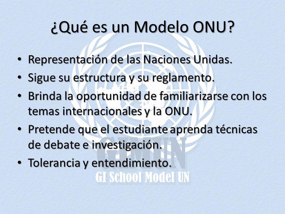 ¿Qué es un Modelo ONU Representación de las Naciones Unidas.