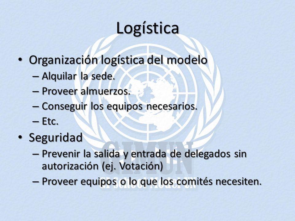 Logística Organización logística del modelo Seguridad