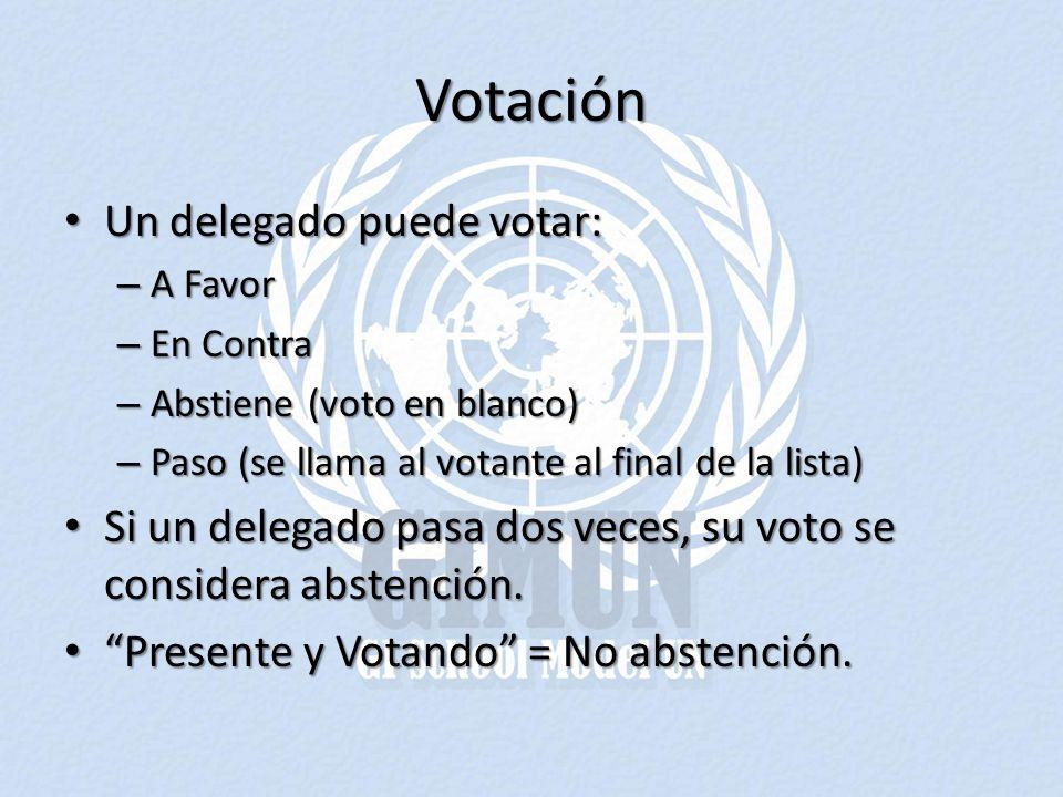 Votación Un delegado puede votar:
