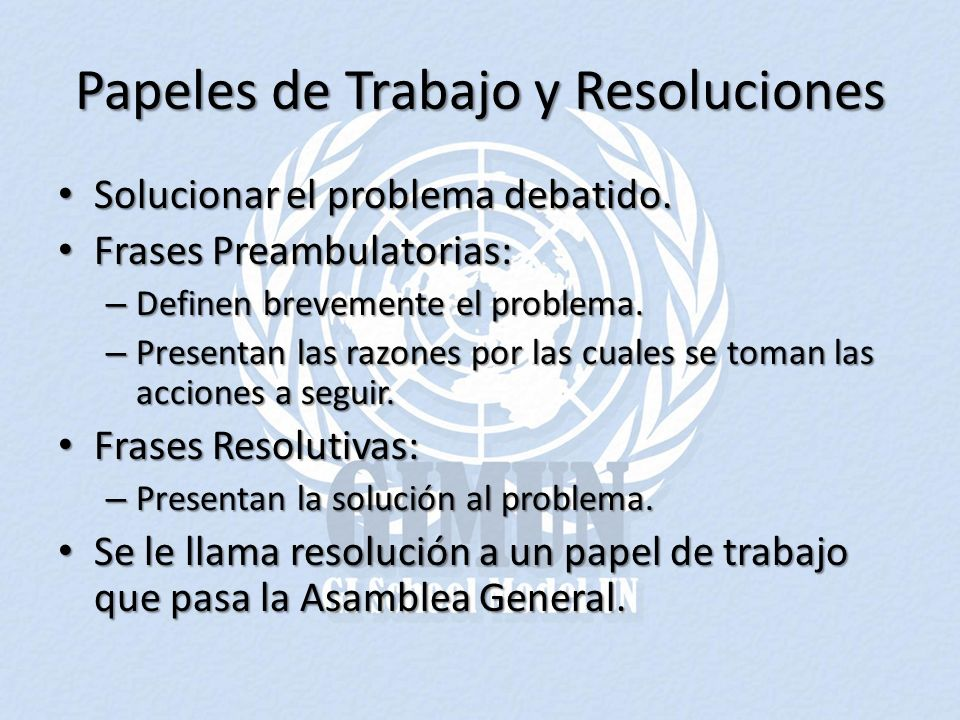 Papeles de Trabajo y Resoluciones