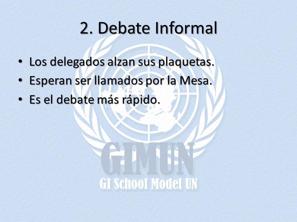 2. Debate Informal Los delegados alzan sus plaquetas.