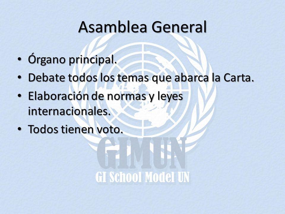 Asamblea General Órgano principal.