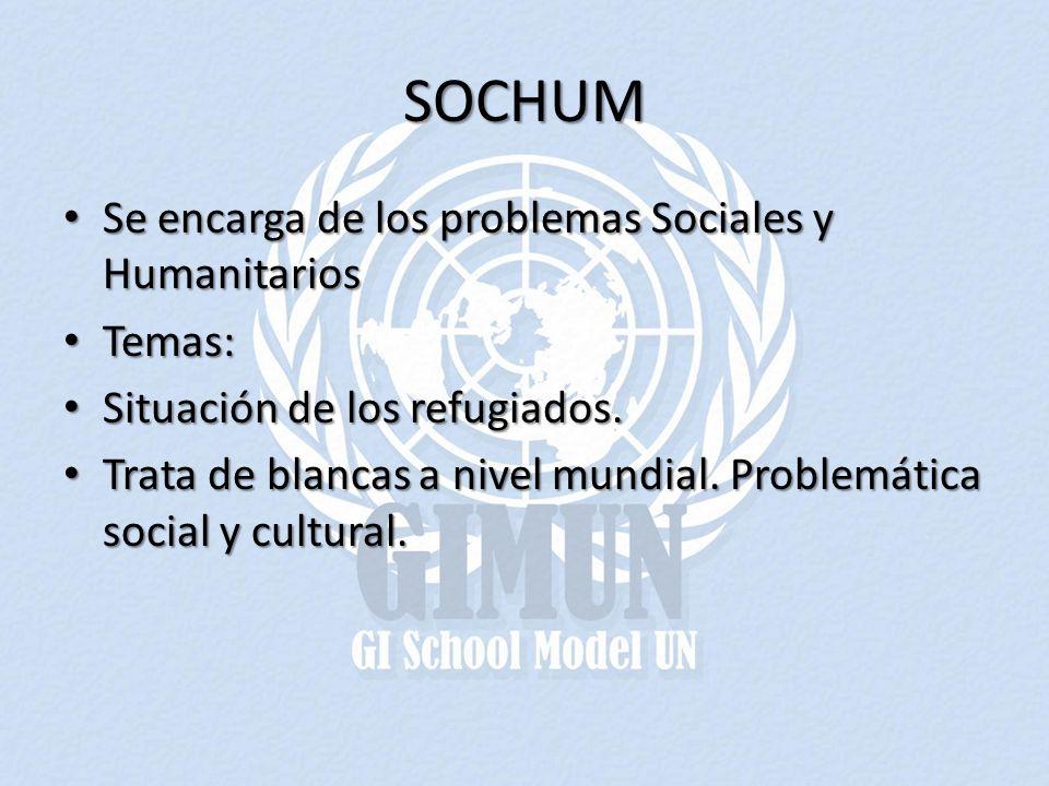 SOCHUM Se encarga de los problemas Sociales y Humanitarios Temas:
