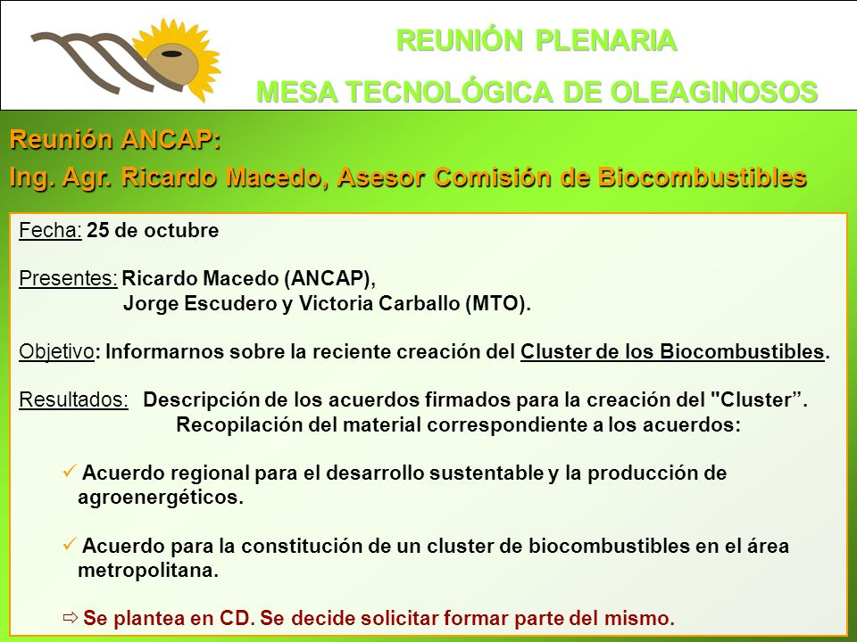 Ing. Agr. Ricardo Macedo, Asesor Comisión de Biocombustibles