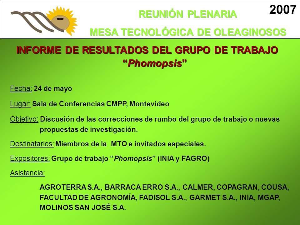 INFORME DE RESULTADOS DEL GRUPO DE TRABAJO Phomopsis