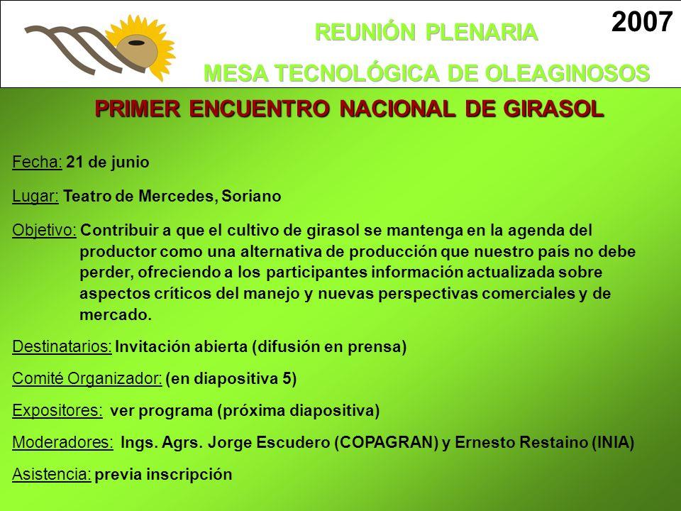 PRIMER ENCUENTRO NACIONAL DE GIRASOL