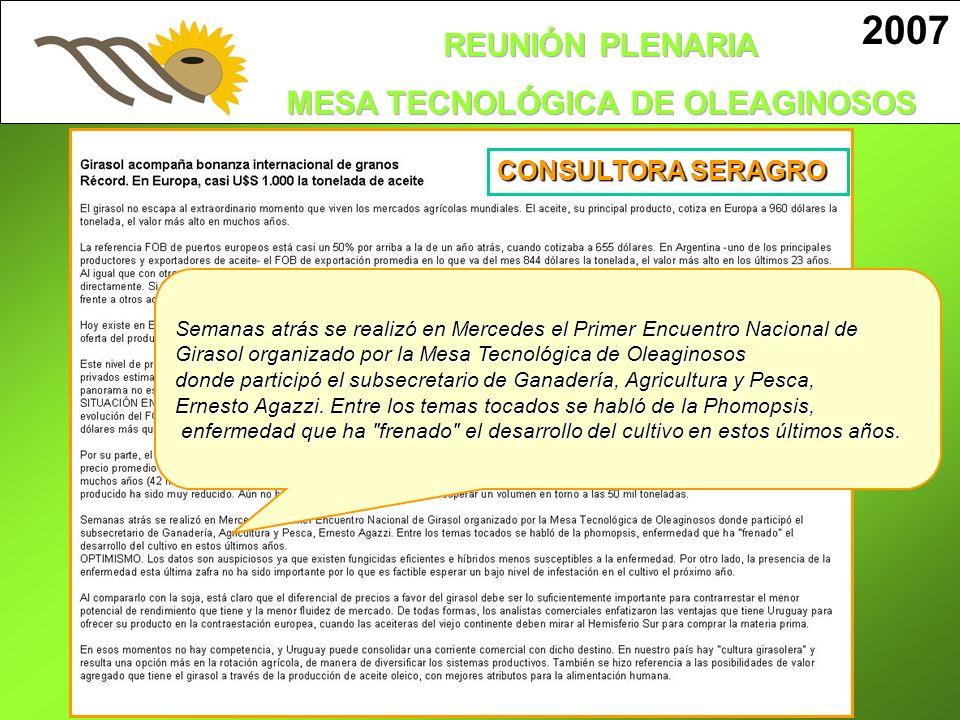 2007 CONSULTORA SERAGRO. Semanas atrás se realizó en Mercedes el Primer Encuentro Nacional de.