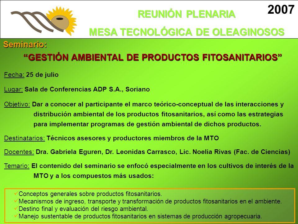 GESTIÓN AMBIENTAL DE PRODUCTOS FITOSANITARIOS